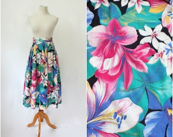 Vintage 80's/90's Joshua Powers from Hunter Colorful Floral Print Cotton High Waist Skirt, Size - Medium/Large