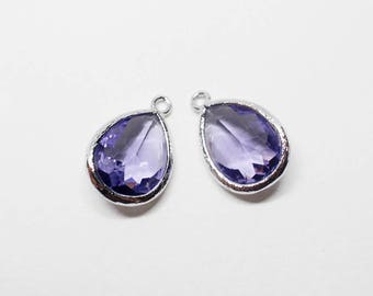 G000312P/Tanzanite/Rhodium plated over brass/Drop faceted glass pendant/11.4mm x 17.1mm /2pcs