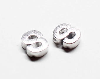 P0721/Anti-Tarnished Rhodium Plating Over Brass /Brushed Mini Alphabet Charm/4.8x6.5mm/2pcs