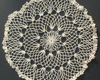 Vintage White Crocheted Lace Doily