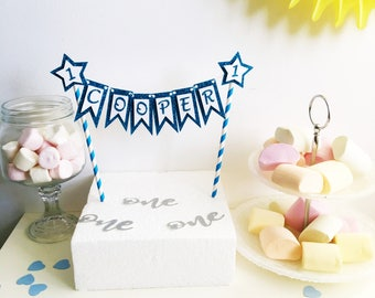 Bunting Name Cake Topper,  Cake Banner, Glitter Topper, Any Name, Garland  Cake Top, Customised, All colours, Cake Smash Prop