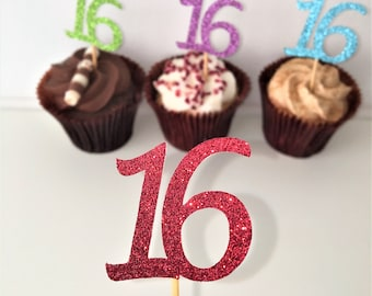 16th Birthday Cupcake Toppers, Number 16, Sixteenth, Sweet Sixteen, Set of 10 Glitter Picks, Party Decoration, Party Accessories