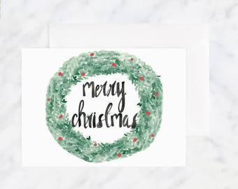 Merry Christmas Cards - Christmas Wreath Card - Holiday Card - Greeting Cards - Illustrated Card - Blank Card - Watercolor Card