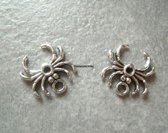 (BA2) Set of 3 small charms 16mm silver metal spiders