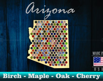 Arizona Beer Cap Map AZ - Beer Cap Holder Beer Cap Display Gift for Him Wedding Gift Fathers Day Birthday  Unique Christmas Gift