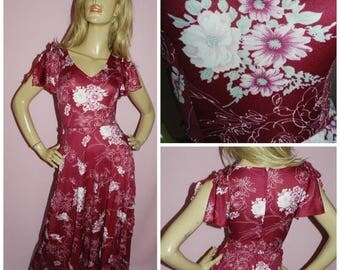 Vintage 70s Maroon/Cream DECO Floral print FLUTTER Slvd Maxi STARLET dress 4-6 Xxs 1970s Bohemian