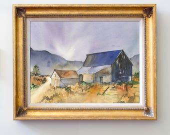 Original Watercolor Autumn Barn Painting