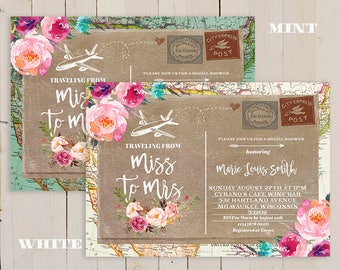 Globe Travel Theme Party, Vintage Travel Bridal Shower, Teal Traveling From Miss To Mrs Bridal Shower invitation, mint invitation, floral