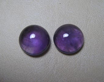 Natural African Amethyst Cabochon Round 2 Piece Loose Semi Precious Gemstone Size 15 mm code  9351 Wholesale