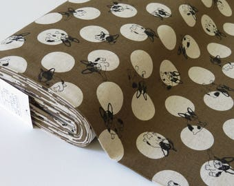1/2 yard Kokka Studio Choco French BullDog | 80/20 Cotton/Linen | H-6827-2E Tan Dots | Japanese Import