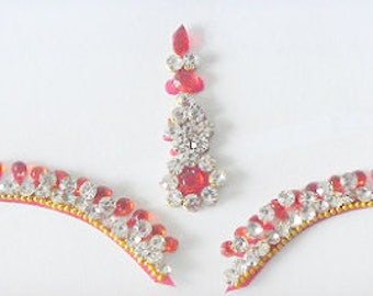 Red bridal bindi,Wedding bindi,High quality silver rhinestone bindi,Stick on body jewels,Indian long tikka,Eyebrow makeup,Swarovski crystal