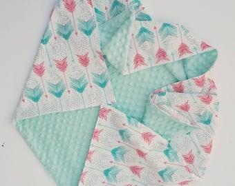 Mint and Coral Arrow Baby Blanket- baby blanket for girl, baby shower gift, minky baby blanket, baby bedding, baby nursery, stroller blanket
