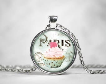Cupcake Pendant, 25mm Silver Pendant, Gifts For Her, Vintage Art Pendant, Parisian Bakery, Boho Jewelry, Cute Necklace