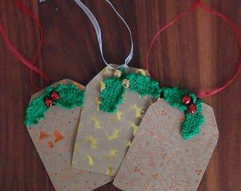 Christmas tag crochet, crhistmas label, crochet label, tags paper christmas, christmas labels holy leaf