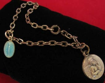 Sterling Silver Children's Charm Bracelet w/a Cherub & Blue Miraculous Medal