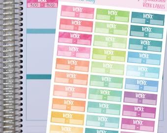 Work Stickers, Juicy Watercolor Work Labels/Fits the Erin Condren Planner and The Happy Planner