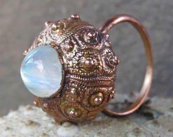 Moonstone copper ring | Electroformed sea urchin ring | Copper urchin shell ring with moonstone cabochon