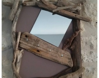Driftwood wood mirror and key