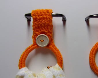 Crocheted Hanging Towel Holders/rings Set Of 2, Orange Kitchen Towel Ring,  Hand