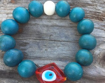 Vintage Wood Evil Eye Red Protection Bracelet Hand Carved Bone Bone Vintage Glass Yoga Karma Bracelet