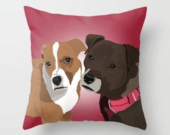 Custom Dog Portrait on a Pillow, Custom Dog Gift