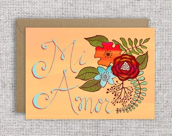 Mi Amor Card   Love card, valentine card, Spanish card, Just because card, thinking of you, ranunculus floral