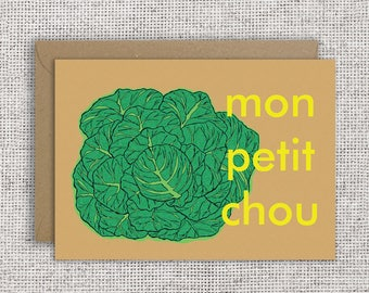 Mon Petit Chou | Valentine card, love, valentines day, friendship, French card, affection, appreciation