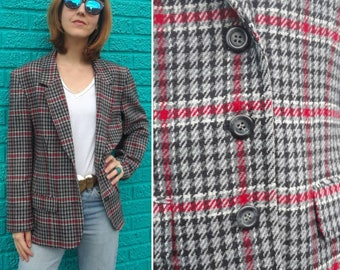Vintage 80s Pendleton Plaid wool blazer | Red gray pendleton jacket | Sport coat Size M