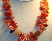 Carnelian, Sterling Silver and Wire Wrapped Lapis Lazuli Pendant Beaded Necklace