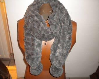 silk scarf tassel collar open gray faux fur