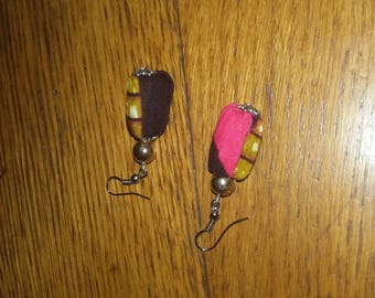 Pierced earring is hand-made in African fabric