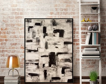 Abstract Textured Stripe Painting Original Painting Blue