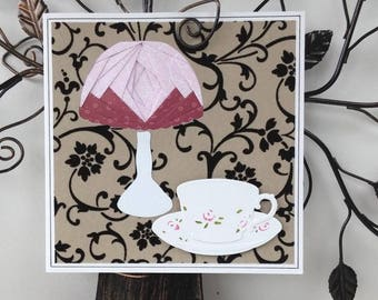 Map lamp and Teacup - Iris folding - all occasions