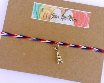 Eiffel Tower Bracelet / Eiffel Tower Charm / Paris Bracelet / France Bracelet / French Bracelet / Handmade Bracelet / Thin Bracelet