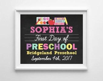 First Day of School Preschool Chalkboard Poster Sign, 1st Day of School Sign, Pre K Back to School, Digital Printable Chalkboard