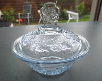 Blue Glass Trinket Pot, Art Deco Pressed Glass Lidded Pot, Walter August Sohne 'Waltraut' Germany, Immaculate Condition, 3.75