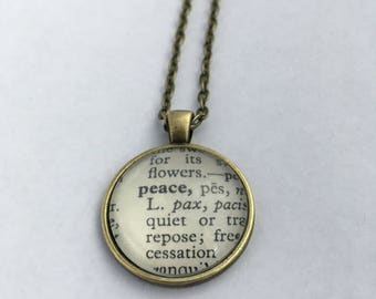 PEACE Vintage Dictionary Word Pendant