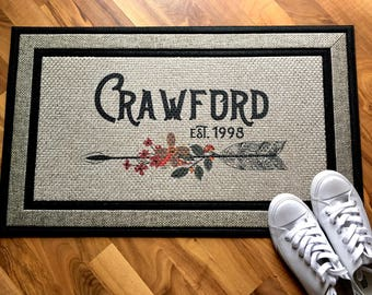 Doormat Door Mat Welcome Mat Custom Welcome Mat Personalized Doormat Housewarming Gift Personalized Welcome Mat  Monogram Doormat