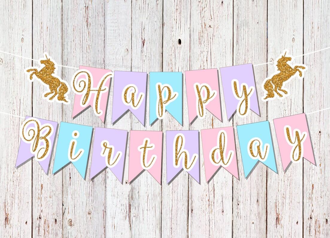 Unicorn Birthday Banner: Unicorn Party Banner Unicorn First Birthday 1st Birthday