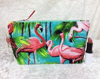 Flamingos Zip Case Bag Pouch fabric Handmade in England