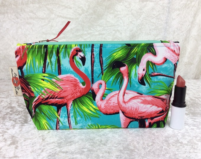 Flamingos Zip Case Bag Pouch fabric Handmade in England