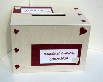 CUSTOMIZABLE wedding Burgundy and cream urn - pot wedding - gift box