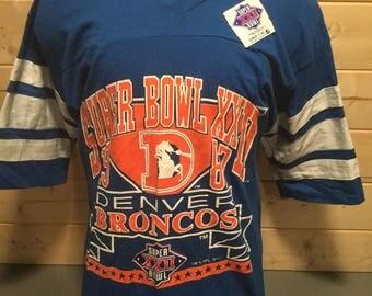 Vintage 1980's Denver Broncos With Tag Super Bowl Jersey 50/50  T-Shirt
