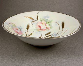 Hand Painted Bowl, Miller Studios, Vintage Germany, Signed, Pink, White Flowers, Gold Trim, Green & Blue Accents, Wedding Gift, Gift for Her