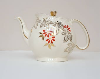 Vintage Teapot, Cream and Gold, 1950s English Teapot, Gibsons Pottery,