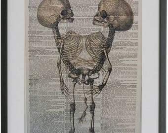 Skeleton Print No.480, siamese twins skeleton poster, halloween art, dark art, halloween decor, bones, gothic poster, dictionary art prints