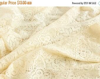 10% OFF 1 yard of Ivory Corchet Fabric, Bridal Wear Fabric, Wedding Lace Fabric, Cotton Lace Fabric