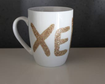 Porcelain coffee cup with the name Xenia