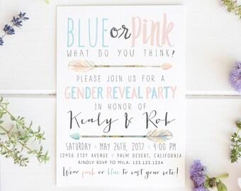 Arrow Gender Reveal Invitation, Arrow, Baby Reveal, Blue, Pink, Tribal, Aztec, Gender Neutral, Baby Shower Invite [100]