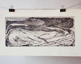 Sleeping ravens intaglio print, original fine art etching, aquatint, surreal anniversary gift, anthropomorphical art, odd birds, bedroom art